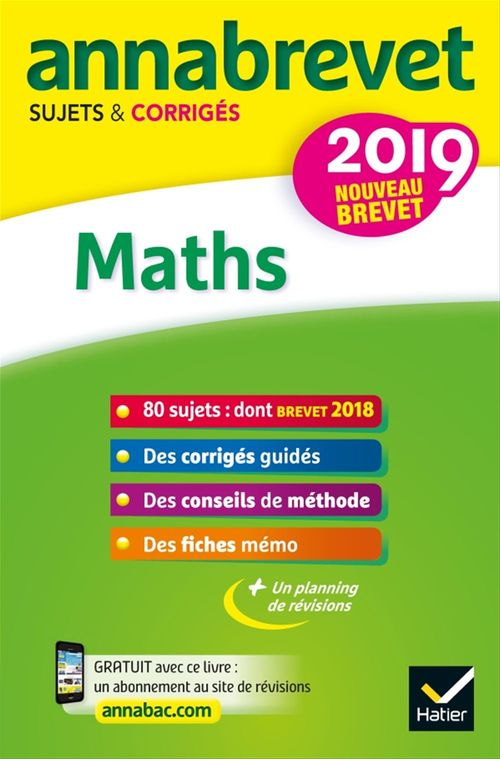 ANNABREVET ; maths ; 3e (édition 2019)