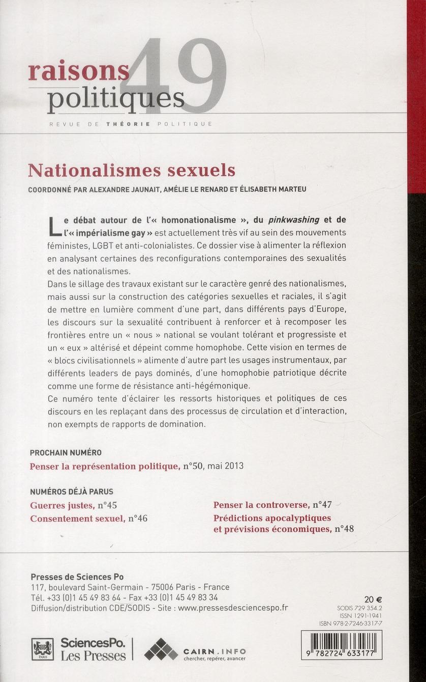 Revue raisons politiques n.49 ; nationalismes sexuels