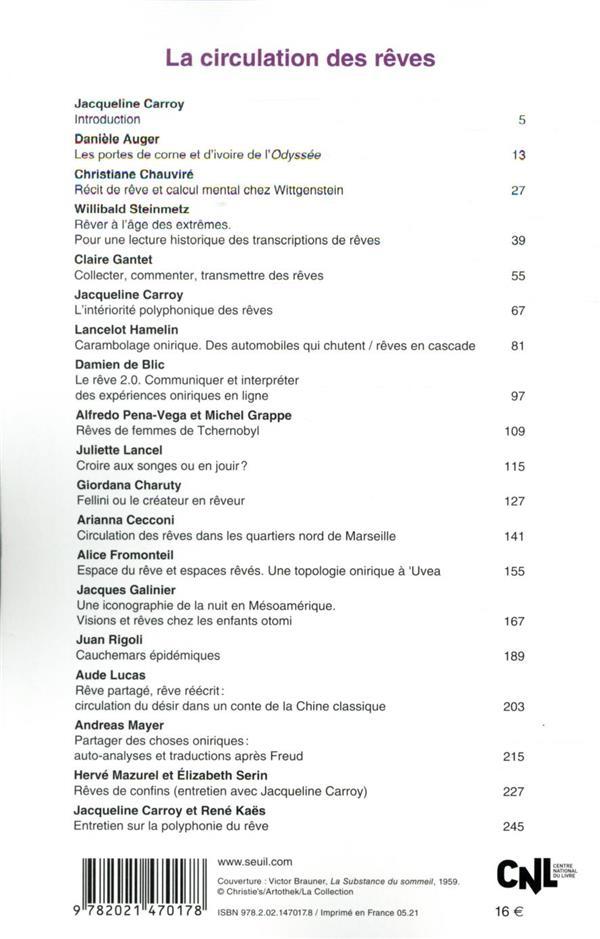 Revue communications n.108 ; la circulation des reves
