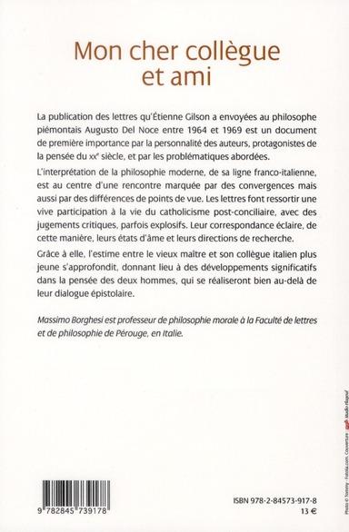 Cher collègue et ami ; lettres d'Etienne Gilson à Augusto Del Noce