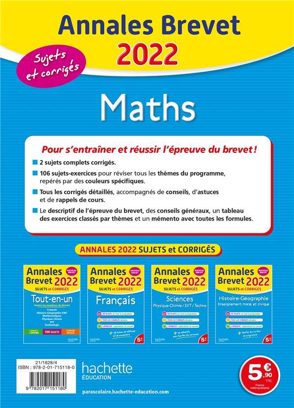 Annales brevet ; maths ; sujets et corrigés (édition 2022)