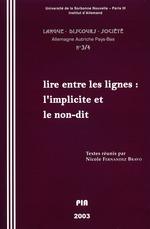Vente EBooks : Lire entre les lignes: l'implicite et le non-dit  - Nicole Fernandez Bravo