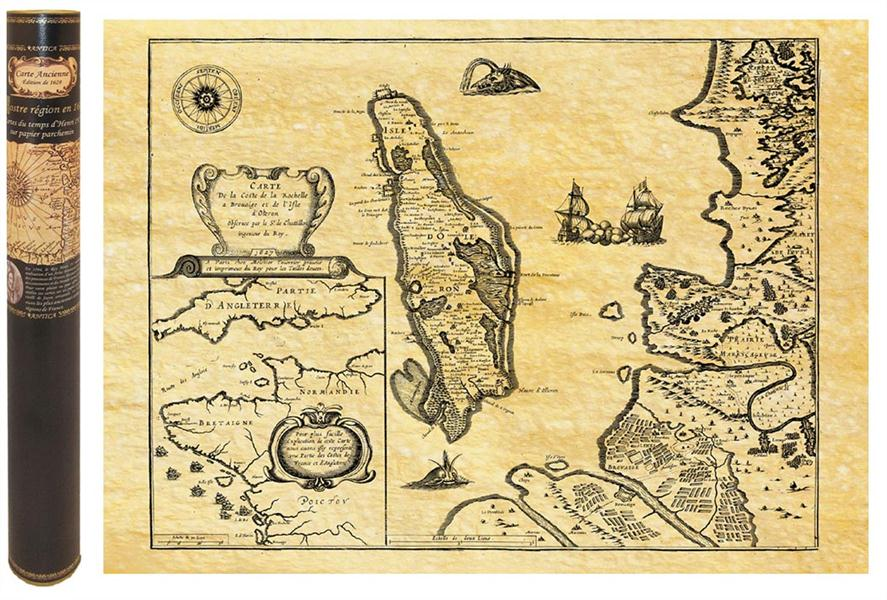 Oleron en 1650 carte de navigation 58,5 cm x 42 cm