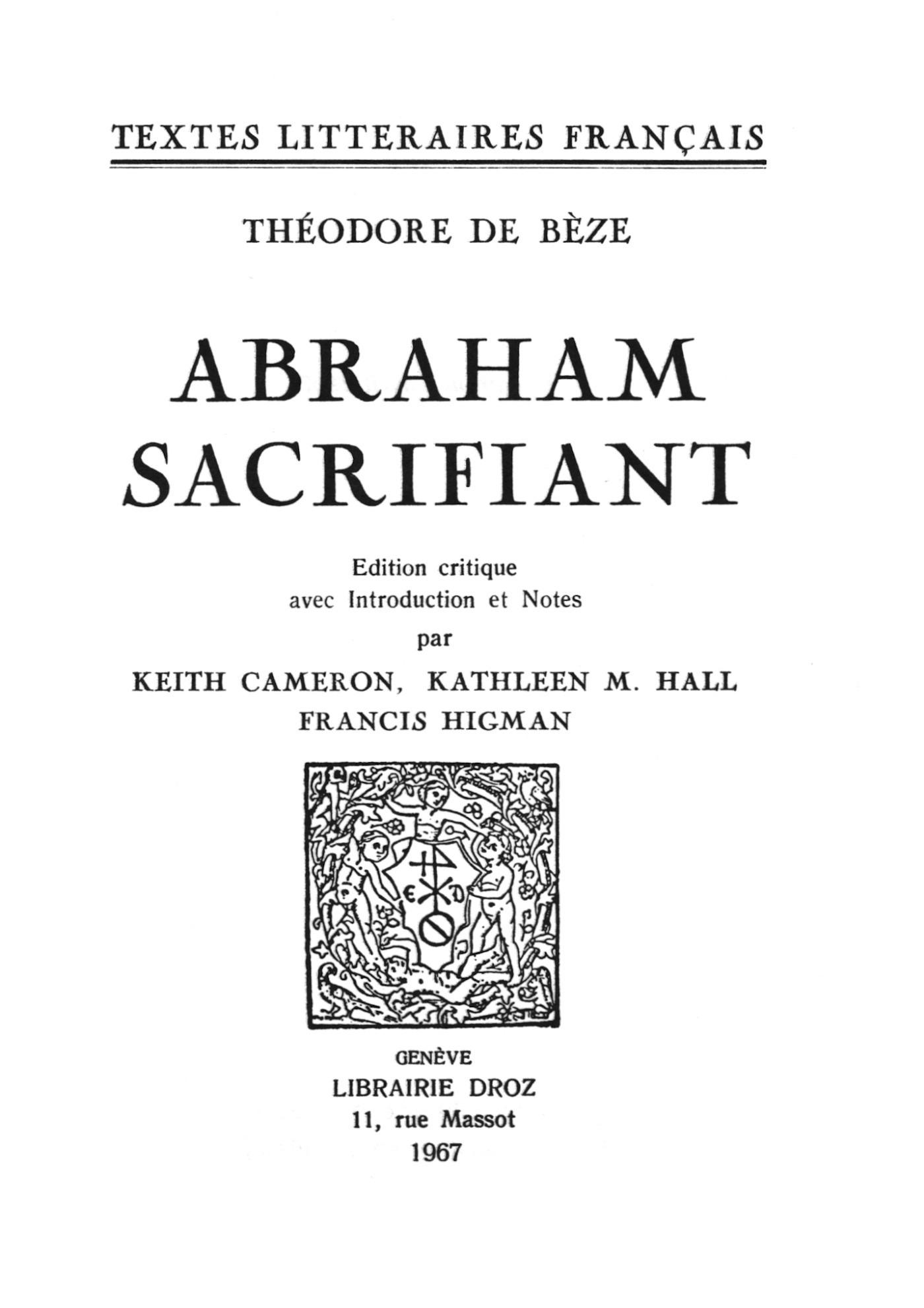 Abraham sacrifiant  - Théodore de Bèze