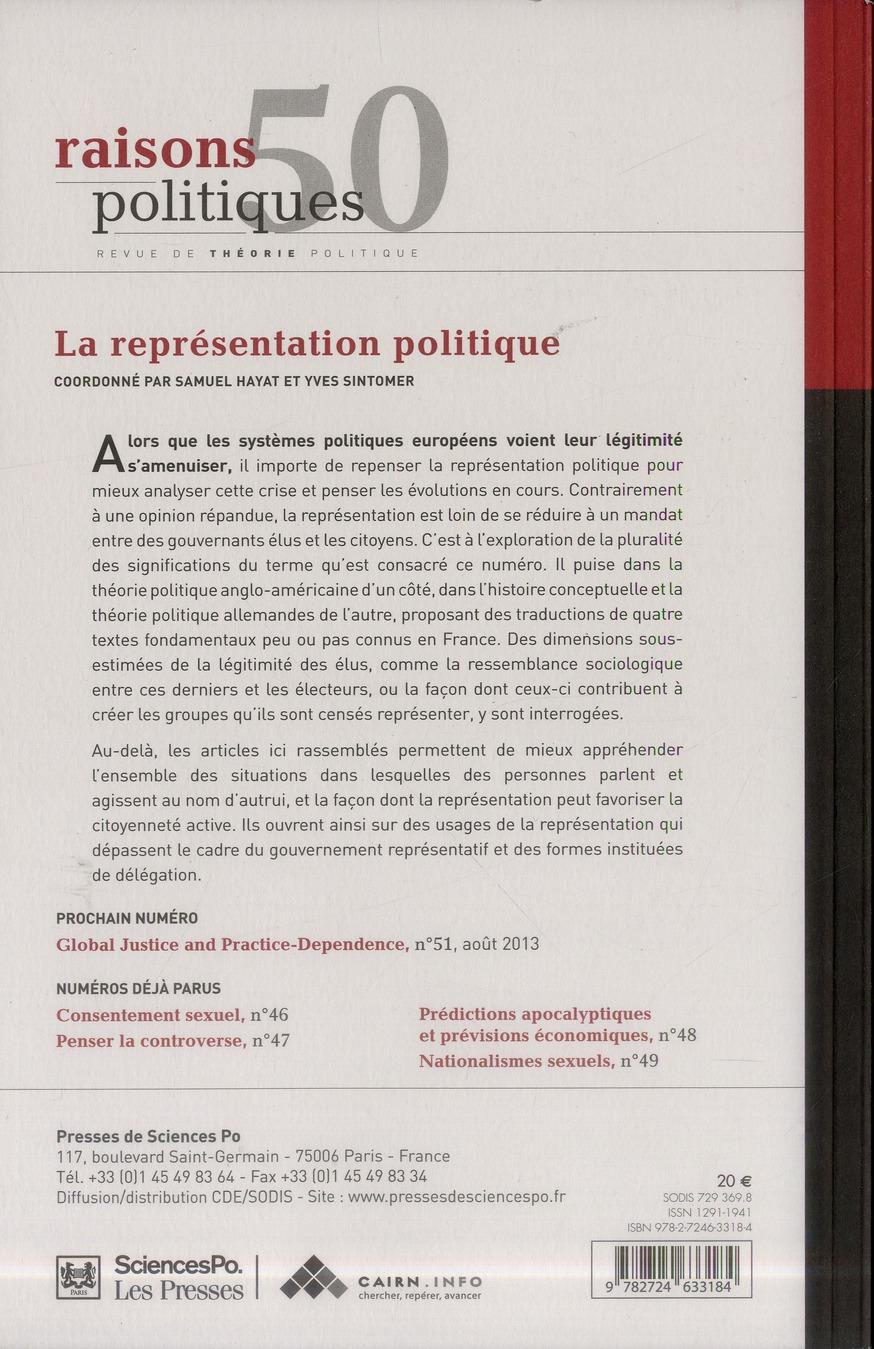 Revue raisons politiques n.50 ; la representation politique