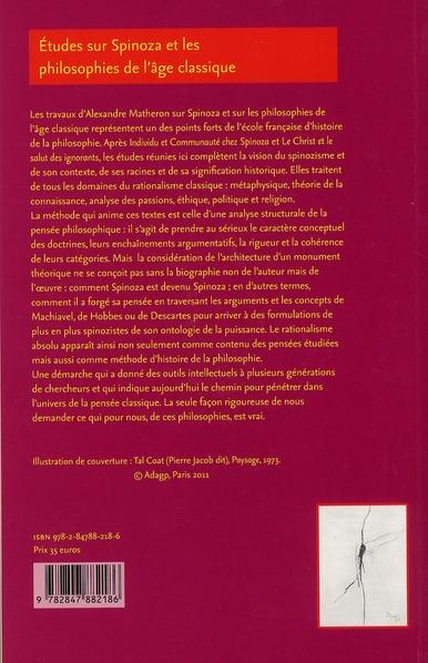 Etudes sur spinoza et les philosophies de l'age classique