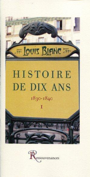 Blanc l. - histoire de dix ans - 1830-1840, tome premier