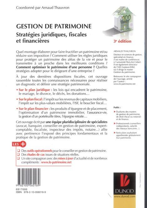 Gestion de patrimoine ; stratégies juridiques, fiscales et financières (3e édition)