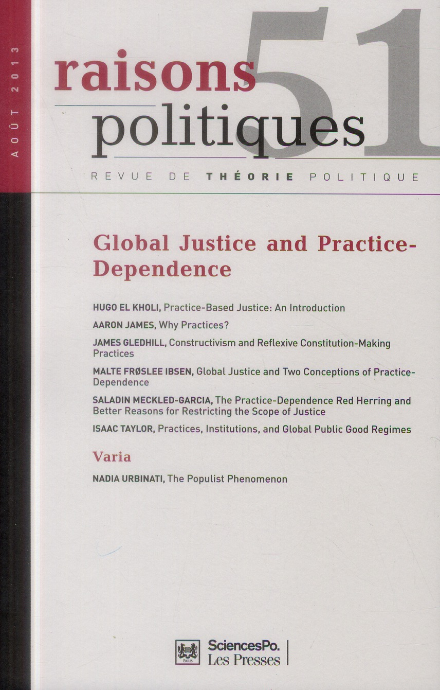 Revue raisons politiques n.51 ; global justice ans practice-dependence