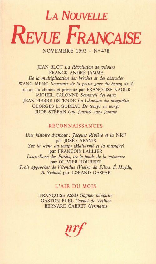 La Nouvelle Revue Française N° 478  - Collectifs  - La Nouvelle Revue Francaise