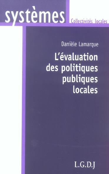 L'Evaluation Des Politiques Publiques Locales