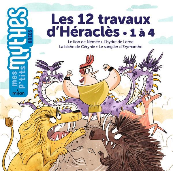 Les 12 travaux d'Héraclès : 1 à 4 ; le lion de Némée ; l'hydre de Lerne ; la biche de Cérynie ; le sanglier d'Erymanthe