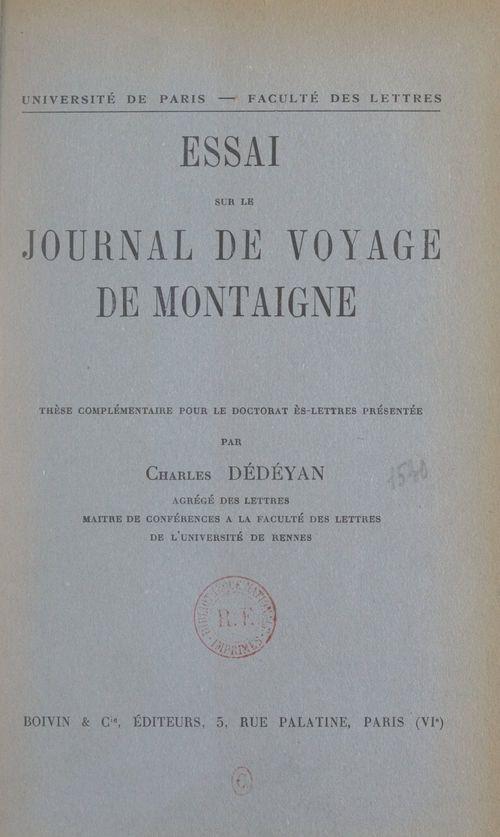 Essai sur le Journal de voyage, de Montaigne