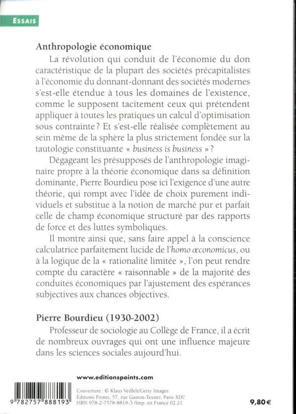 Anthropologie économique ; cours au Collège de France (1992-1993)