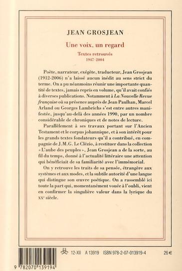 Une voix, un regard ; textes retrouvés ; 1947-2004
