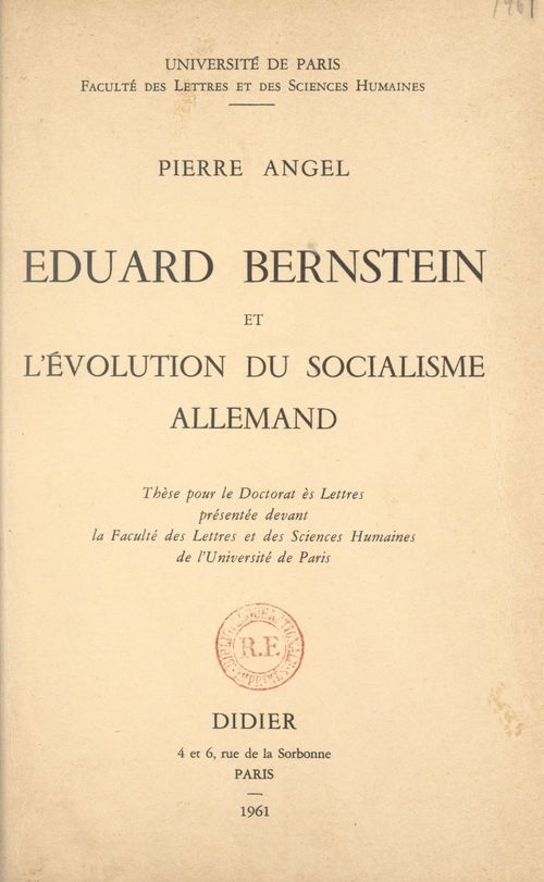 Eduard Bernstein et l'évolution du socialisme allemand
