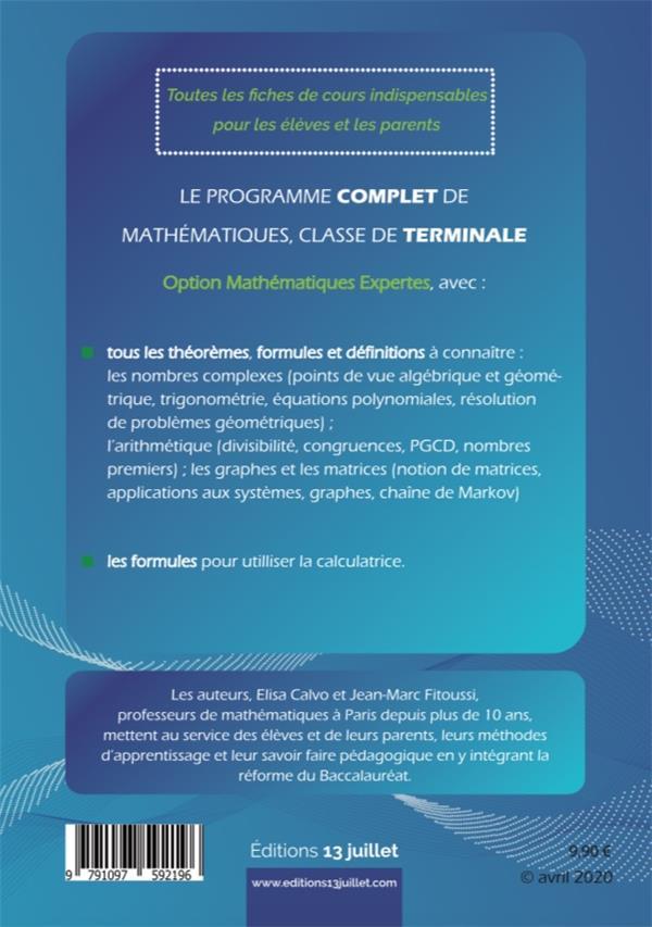 Mathématiques expertes ; terminale ; synthèse de cours et livret de formules