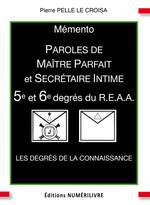Vente EBooks : Mémento 5/6e degré REAA paroles de maître parfait et secrétaire intime