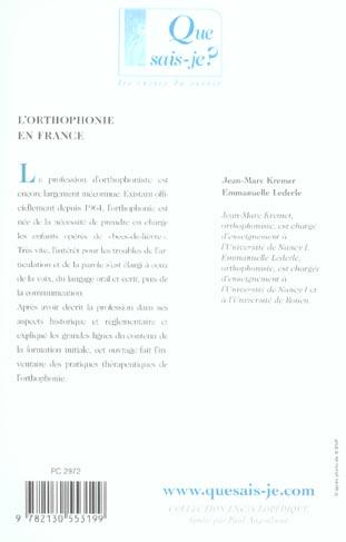 L'orthophonie en france (4eme ed) (4e édition)