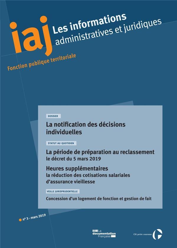 Informations administratives juridiques n.3 ; la notification des decisions individuelles (edition 2019)