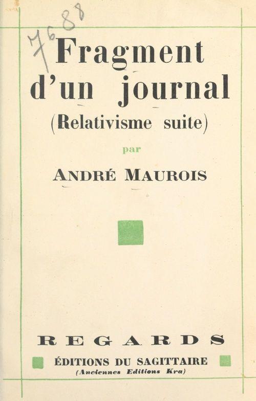 Fragment d'un journal, août-septembre 1930  - Andre Maurois