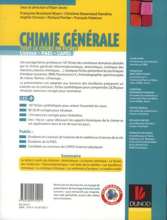 Chimie générale ; tout le cours en fiches ; licence, PAES, Capes