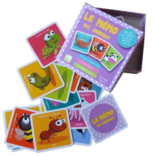 Le mémo des animaux ; jeu de memory trilingue français-breton-anglais