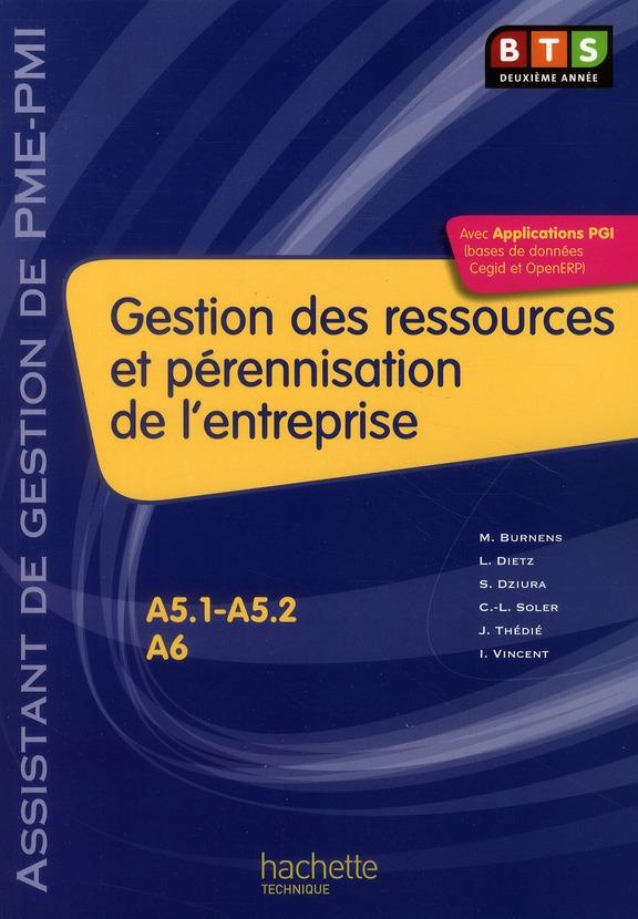 Gestion des ressources et pérennisation de l'entreprise ; BTS 2ème année PME/PMI ; livre de l'élève (édition 2010)