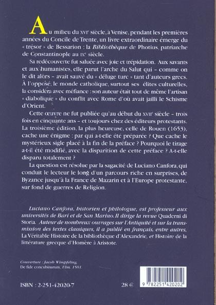 La bibliothèque du patriarche ; Photius censuré dans la France de Mazarin