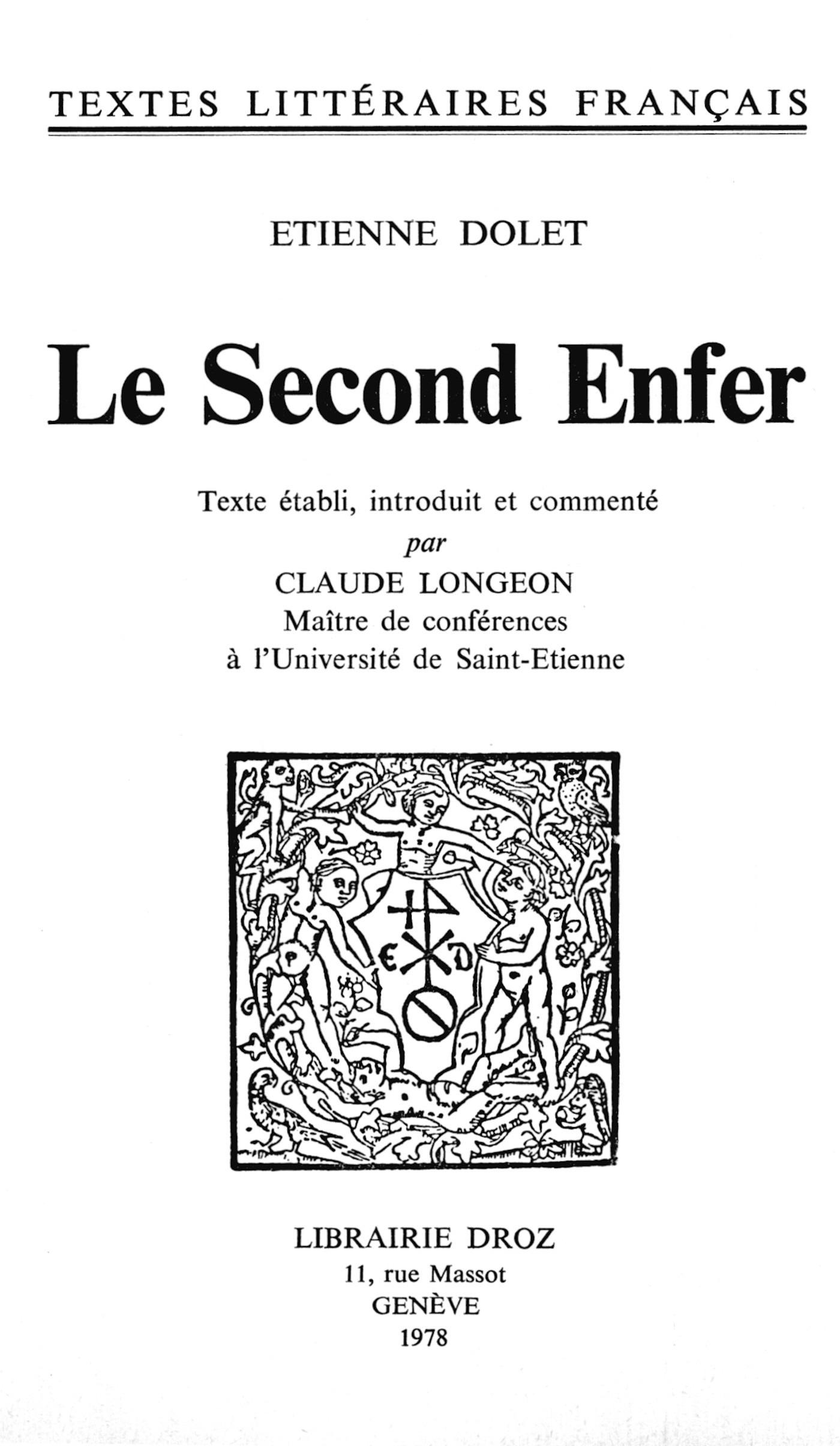 Le Second Enfer  - Étienne Dolet