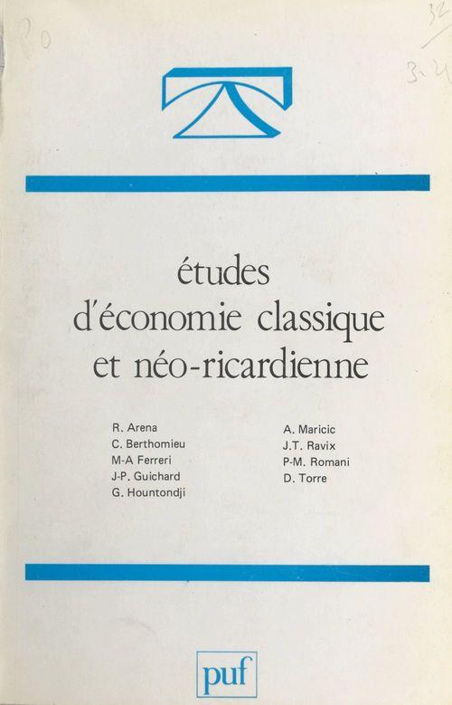 Études d'économie classique et néo-ricardienne