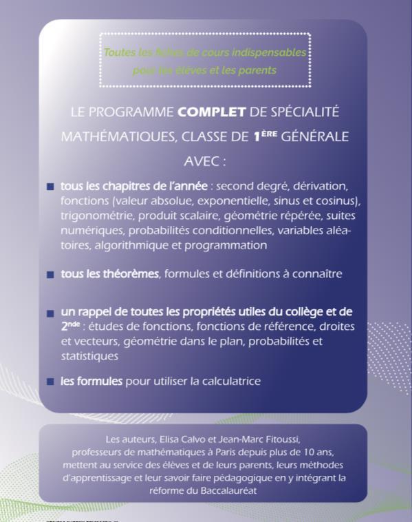 Mathematiques 1re S Entrainer Avec Des Exercices Corriges Et Adaptes A Tous Les Niveaux Elisa Calvo Editions 13 Juillet Grand Format Place Des Libraires
