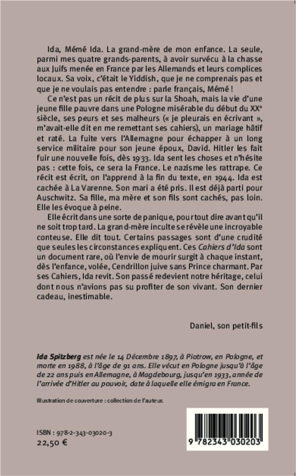 Les cahiers d'Ida ; mémoires d'une jeune femme juive, de la Pologne à la France dans la première moitié du XXe siècle
