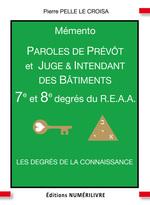 Vente EBooks : Mémento 7/8e degré REAA paroles de prévot et juge et intendants des batiments