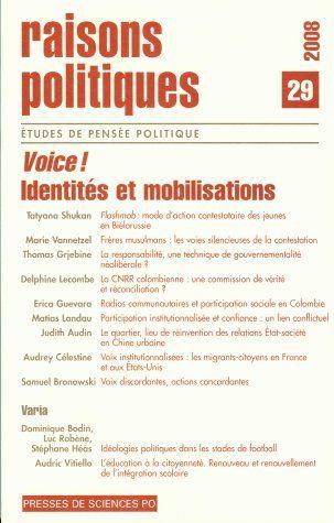 Revue raisons politiques T.29 ; VOICE, participation, mobilisation, citoyennetés comparées