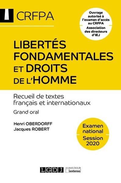 Libertés fondamentales et droits de l'homme ; CRFPA : examen national session 2020