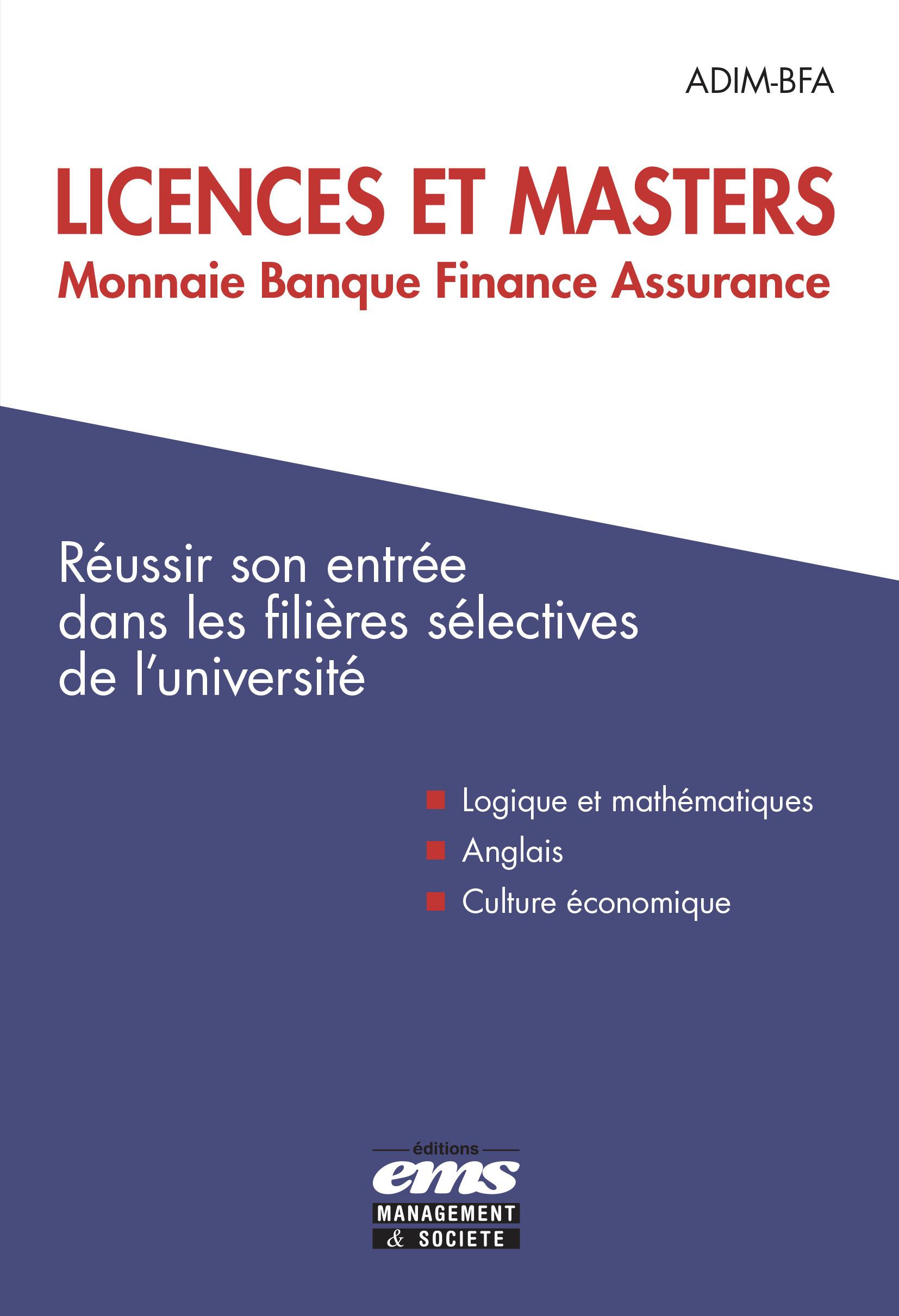 QCM ; licences et masters monnaie banque finance assurance ; réussir son entrée dans les filières sélectives de l'université