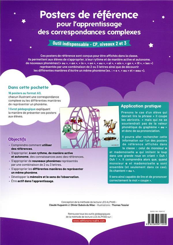 apprendre à lire avec les Alphas ; posters de référence pour l'apprentissage des correspondances complexes