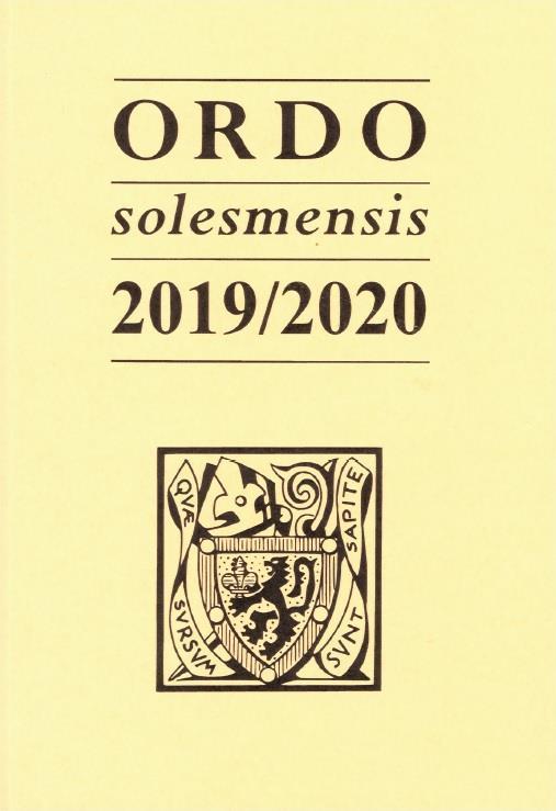 Ordo solesmensis 2019/2020 ; ordo divini officii sacrique peragendi iuxta ritum romano monasticum in abbatia s. petri de solesmis & in ceteris monasteriis congregationis solesmens