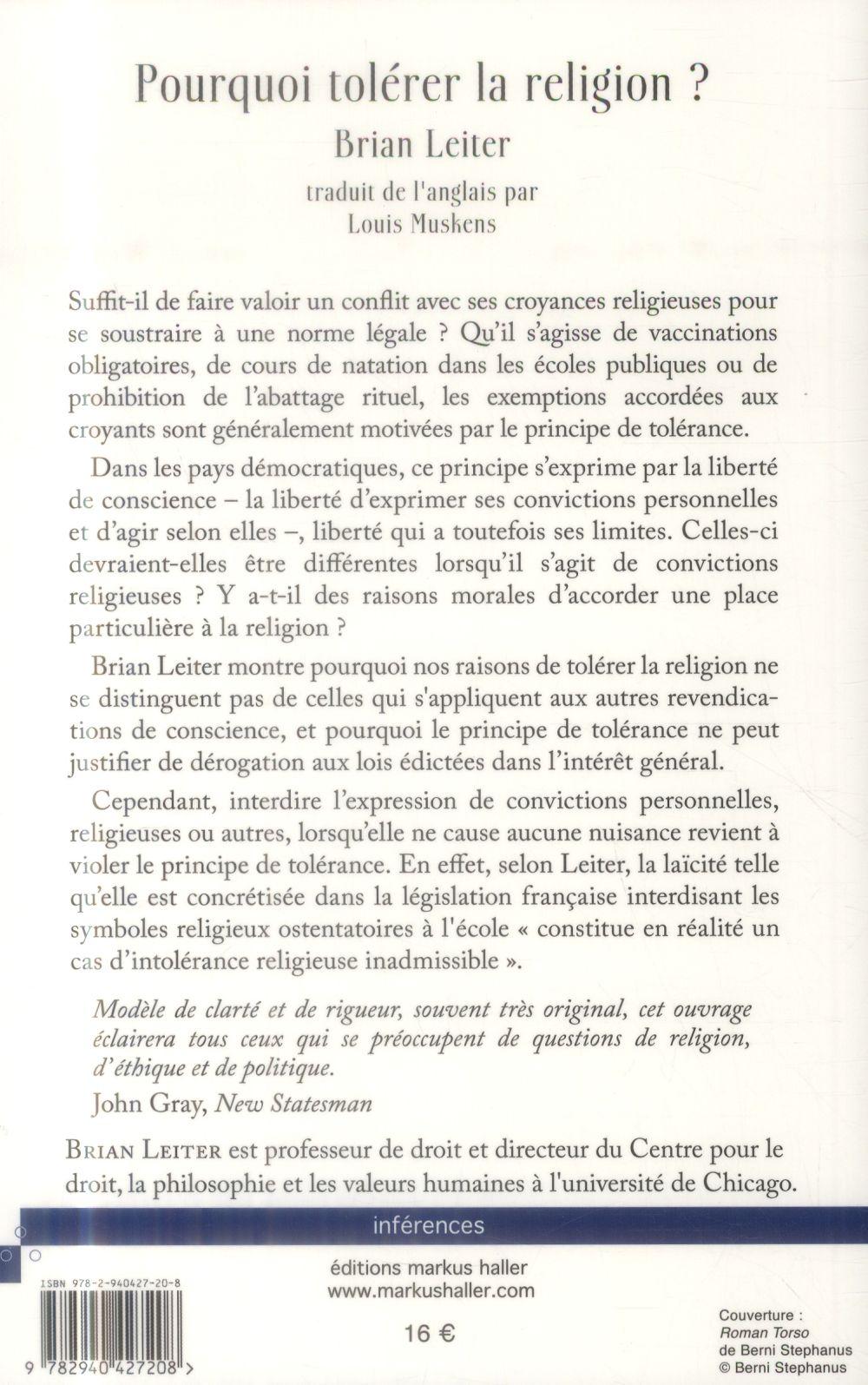 pourquoi tolérer la religion ? ; une investigation philosophique et juridique