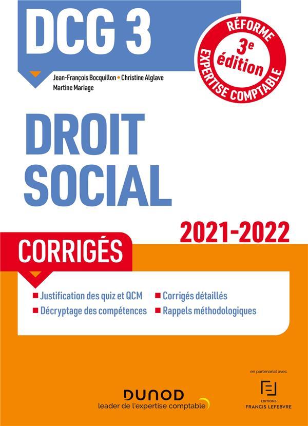 DCG 3 : droit social ; corrigés (édition 2021/2022)