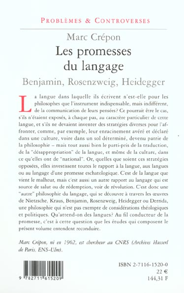 Les promesses du langage ; Benjamin, Heidegger, Rosenzweig