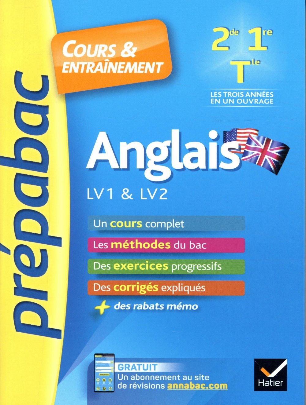 Prépabac cours & entraînement ; anglais ; 2de, 1re, terminale toutes séries ; LV1 & LV2 (édition 2019)