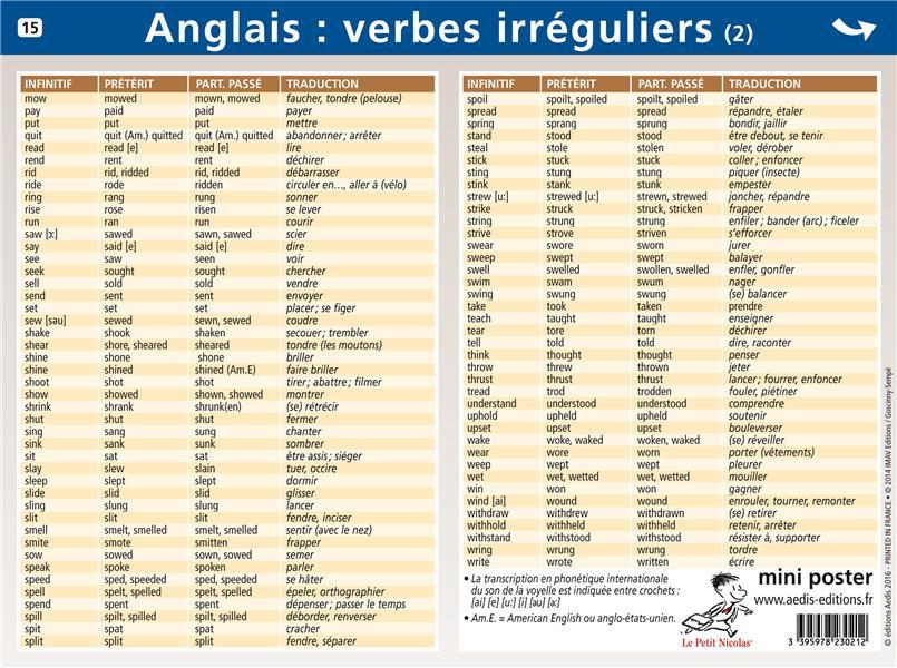 Mini Poster Le Petit Nicolas T 15 Anglais Verbes Irreguliers Collectif Aedis Poster Librairie Durance Nantes