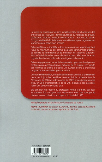 SAS ; la société par actions simplifiée ; études, formules (4e édition)