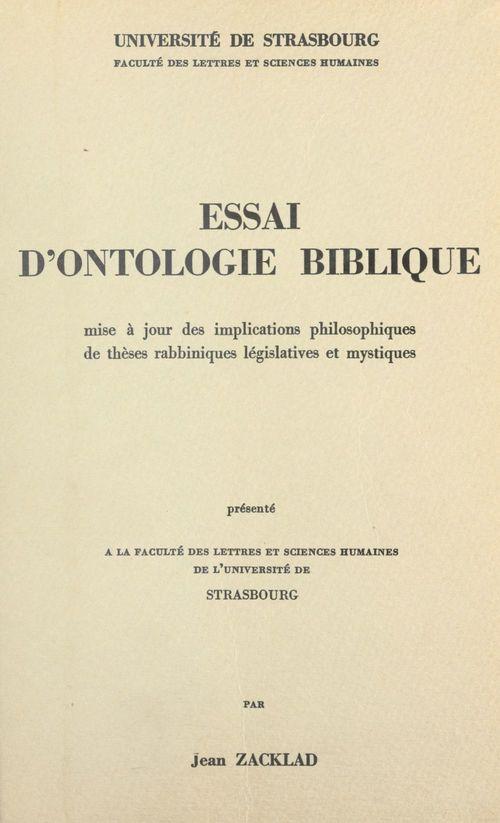 Essai d'ontologie biblique  - Jean Zacklad