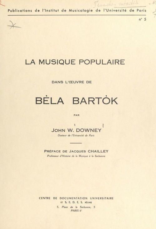 La musique populaire dans l'oeuvre de Béla Bartók