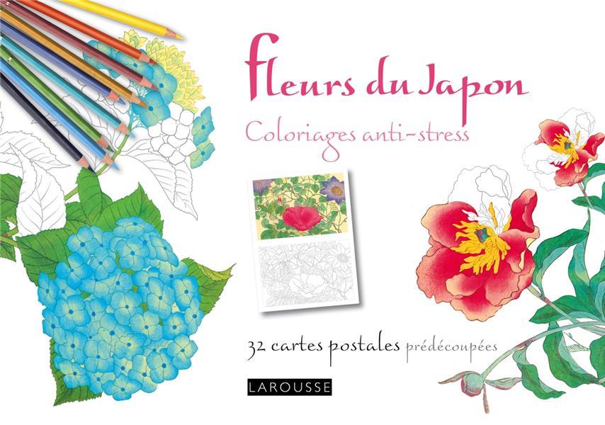 Fleurs du japon ; coloriages anti-stress ; 32 cartes postales