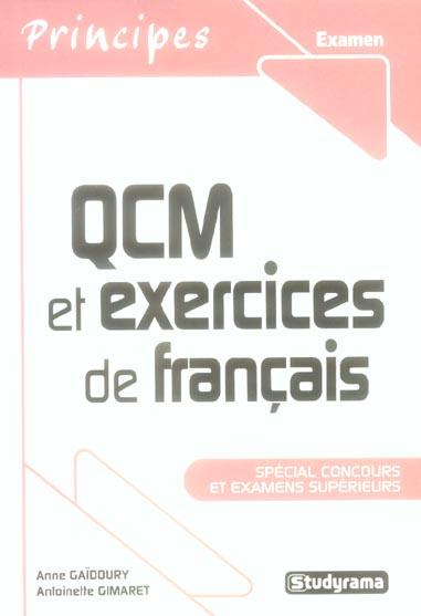 Qcm Et Exercices De Francais ; Special Concours Et Examens Superieurs