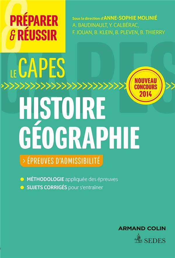PREPARER & REUSSIR ; histoire ; géographie ; capes ; épreuves d'admissibilté